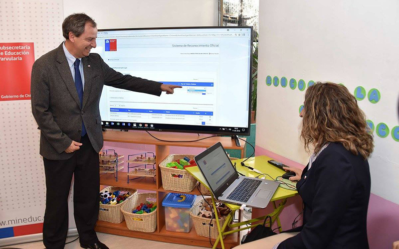 El ministro de Educación Gerardo Varela y la subsecretaria de Educación Parvularia María José Castro, presentaron en un establecimiento de la JUNJI Metropolitana en Ñuñoa el sistema que permitirá subir la documentación en línea, facilitando el proceso a las instituciones y sostenedores.